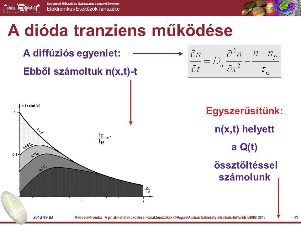 Budapesti Műszaki és Gazdaságtudomanyi Egyetem Elektronikus Eszközök Tanszéke 41 A dióda tranziens működése A diffúziós egyenlet: Ebből számoltuk n(x,