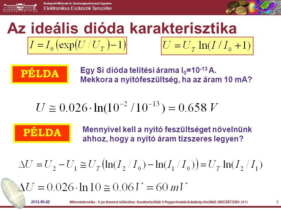 Budapesti Műszaki és Gazdaságtudomanyi Egyetem Elektronikus Eszközök Tanszéke 5 Az ideális dióda karakterisztika PÉLDA Egy Si dióda telítési árama I 0