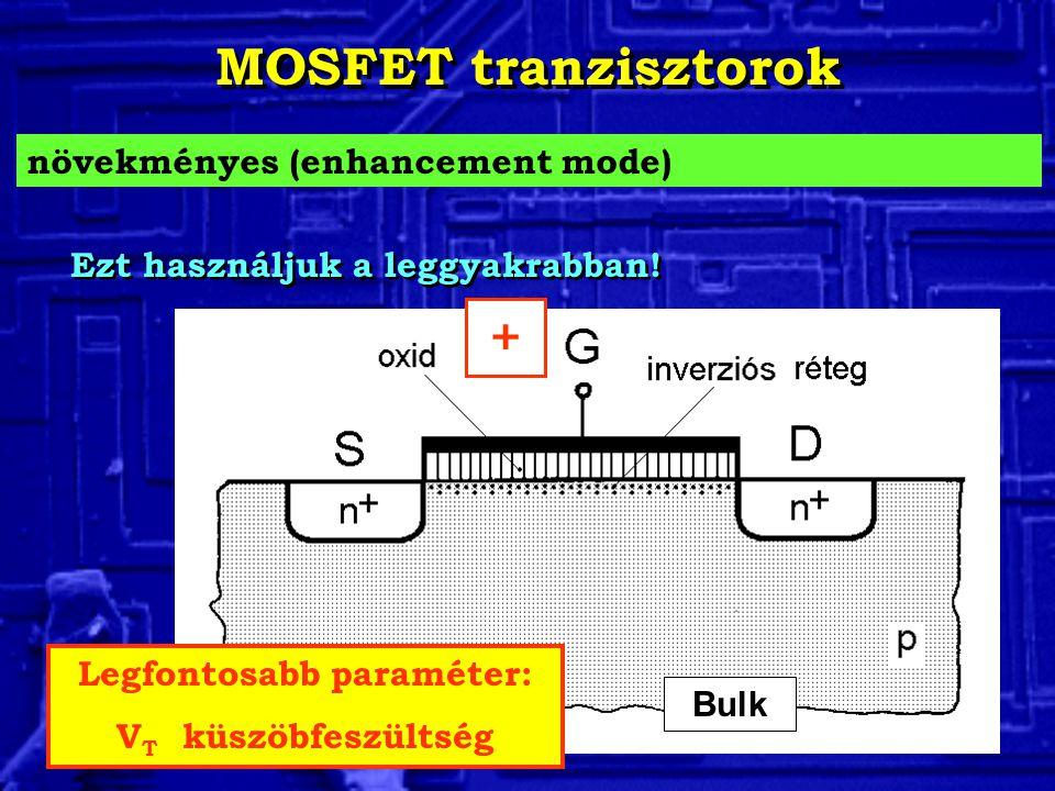 MOSFET tranzisztorok növekményes (enhancement mode) Legfontosabb paraméter: V T küszöbfeszültség Bulk Ezt használjuk a leggyakrabban.