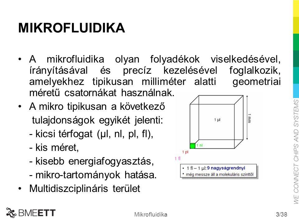 /38 Mikrofluidika 3 3 MIKROFLUIDIKA A mikrofluidika olyan folyadékok viselkedésével, írányításával és precíz kezelésével foglalkozik, amelyekhez tipik
