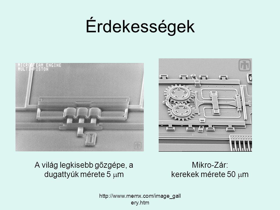 http://www.memx.com/image_gall ery.htm Érdekességek A világ legkisebb gőzgépe, a dugattyúk mérete 5  m Mikro-Zár: kerekek mérete 50  m