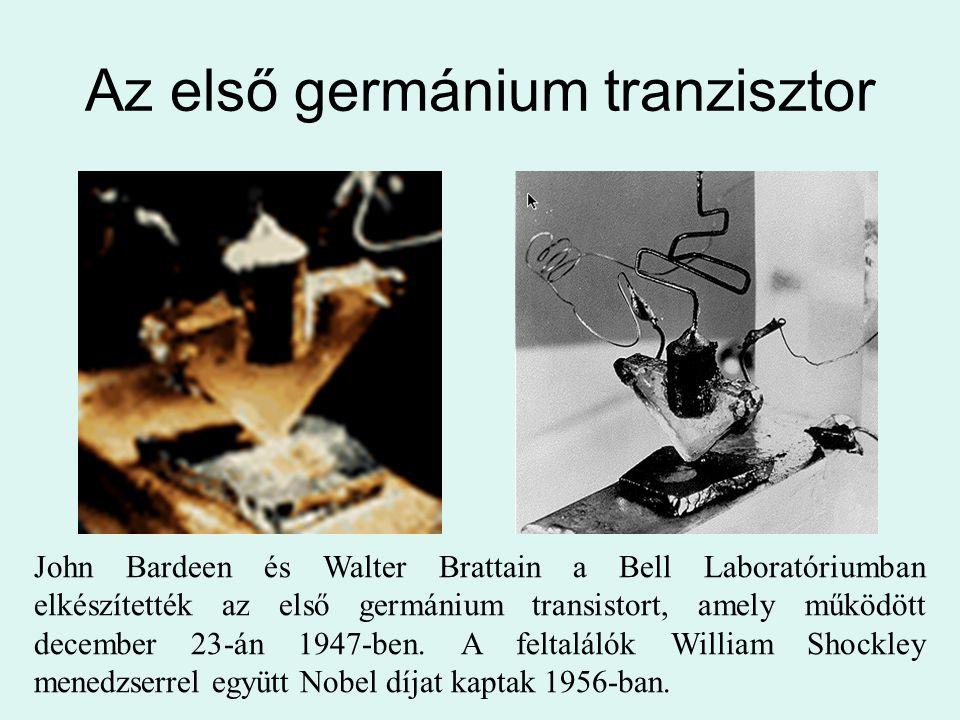 Az első germánium tranzisztor John Bardeen és Walter Brattain a Bell Laboratóriumban elkészítették az első germánium transistort, amely működött decem