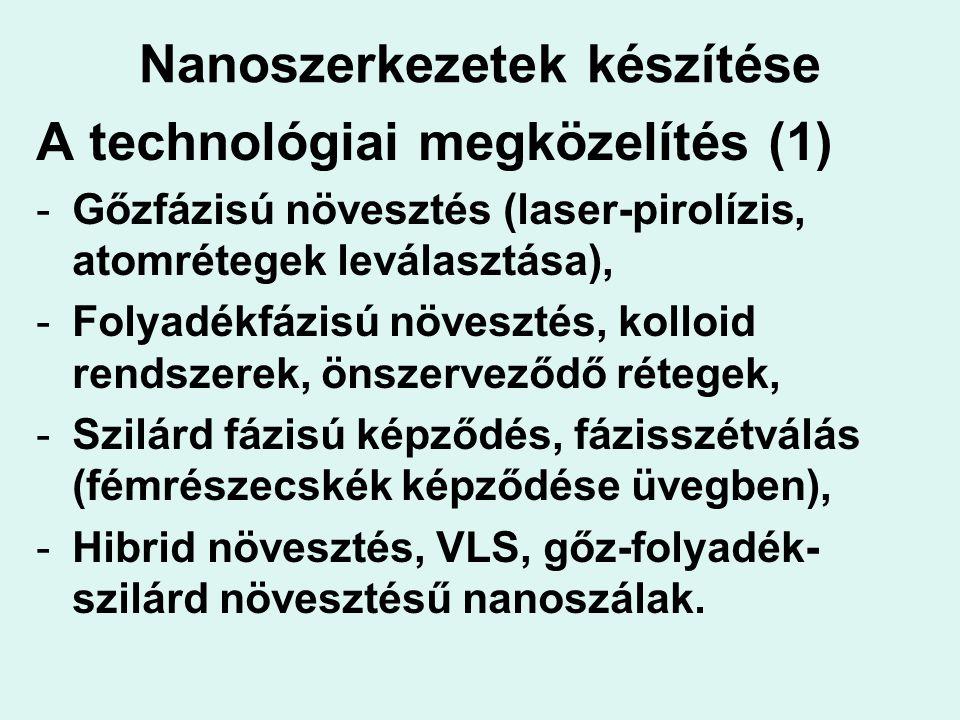 Nanoszerkezetek készítése A technológiai megközelítés (1) -Gőzfázisú növesztés (laser-pirolízis, atomrétegek leválasztása), -Folyadékfázisú növesztés,