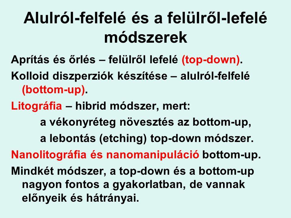 Alulról-felfelé és a felülről-lefelé módszerek Aprítás és őrlés – felülről lefelé (top-down). Kolloid diszperziók készítése – alulról-felfelé (bottom-