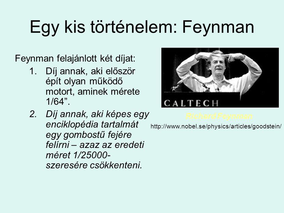"""Egy kis történelem: Feynman Feynman felajánlott két díjat: 1.Díj annak, aki először épít olyan működő motort, aminek mérete 1/64"""". 2.Díj annak, aki ké"""