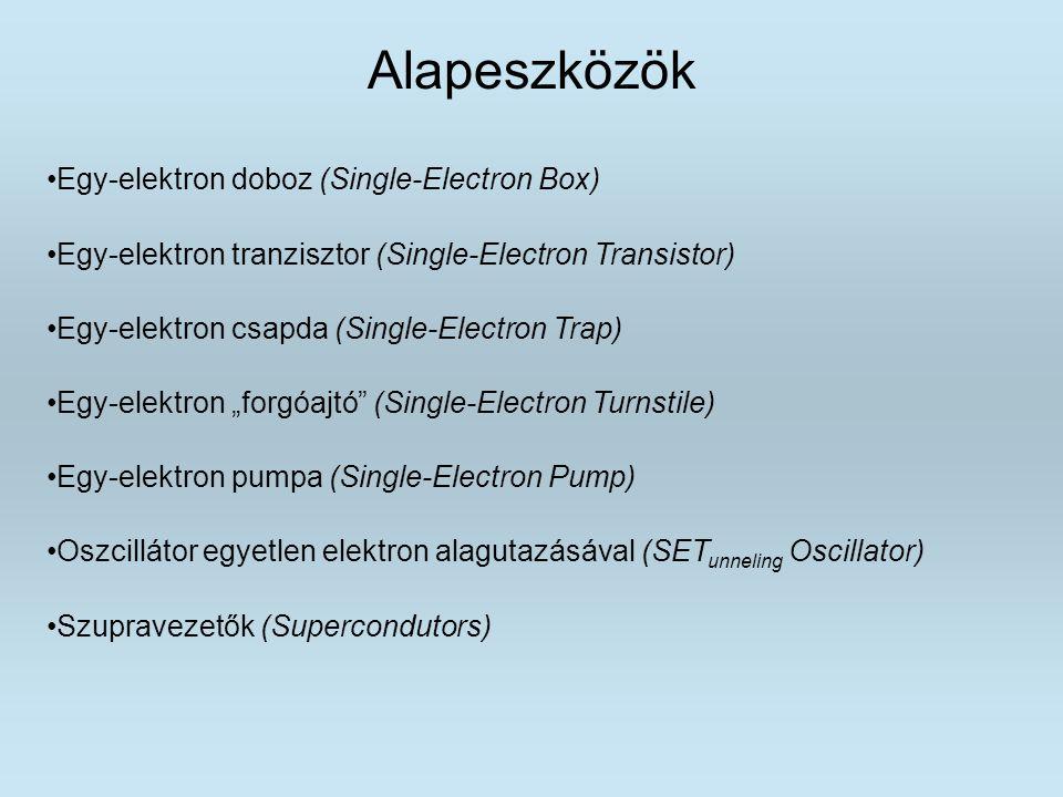 Alapeszközök Egy-elektron doboz (Single-Electron Box) Egy-elektron tranzisztor (Single-Electron Transistor) Egy-elektron csapda (Single-Electron Trap)
