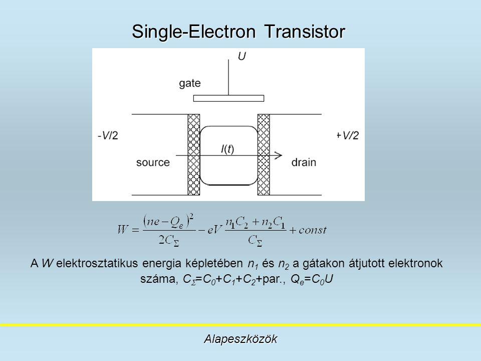 Single-Electron Transistor Alapeszközök A W elektrosztatikus energia képletében n 1 és n 2 a gátakon átjutott elektronok száma, C  =C 0 +C 1 +C 2 +pa