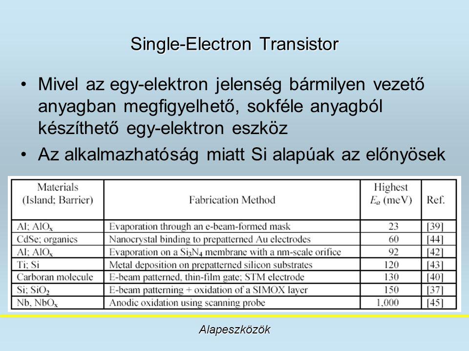 Single-Electron Transistor Mivel az egy-elektron jelenség bármilyen vezető anyagban megfigyelhető, sokféle anyagból készíthető egy-elektron eszköz Az
