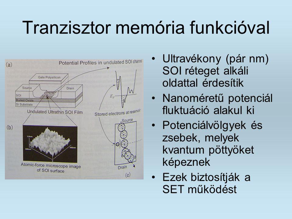 Tranzisztor memória funkcióval Ultravékony (pár nm) SOI réteget alkáli oldattal érdesítik Nanoméretű potenciál fluktuáció alakul ki Potenciálvölgyek é