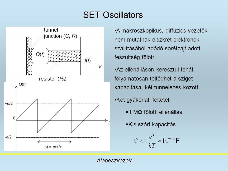 SET Oscillators Alapeszközök A makroszkopikus, diffúziós vezetők nem mutatnak diszkrét elektronok szállításából adódó sörétzajt adott feszültség fölöt