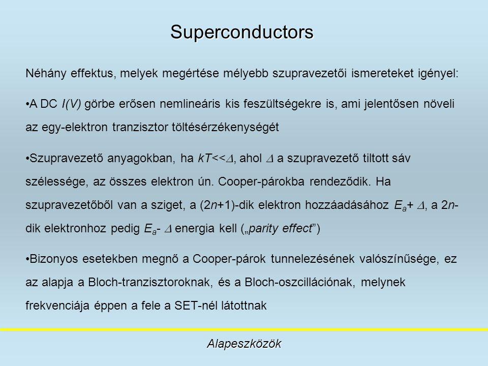 Superconductors Alapeszközök Néhány effektus, melyek megértése mélyebb szupravezetői ismereteket igényel: A DC I(V) görbe erősen nemlineáris kis feszü