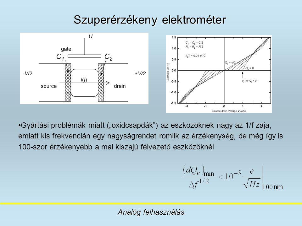 """Szuperérzékeny elektrométer Analóg felhasználás Gyártási problémák miatt (""""oxidcsapdák"""") az eszközöknek nagy az 1/f zaja, emiatt kis frekvencián egy n"""