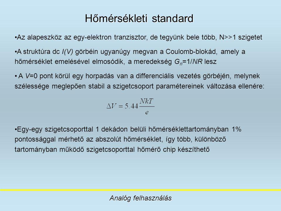 Hőmérsékleti standard Analóg felhasználás Az alapeszköz az egy-elektron tranzisztor, de tegyünk bele több, N>>1 szigetet A struktúra dc I(V) görbéin u