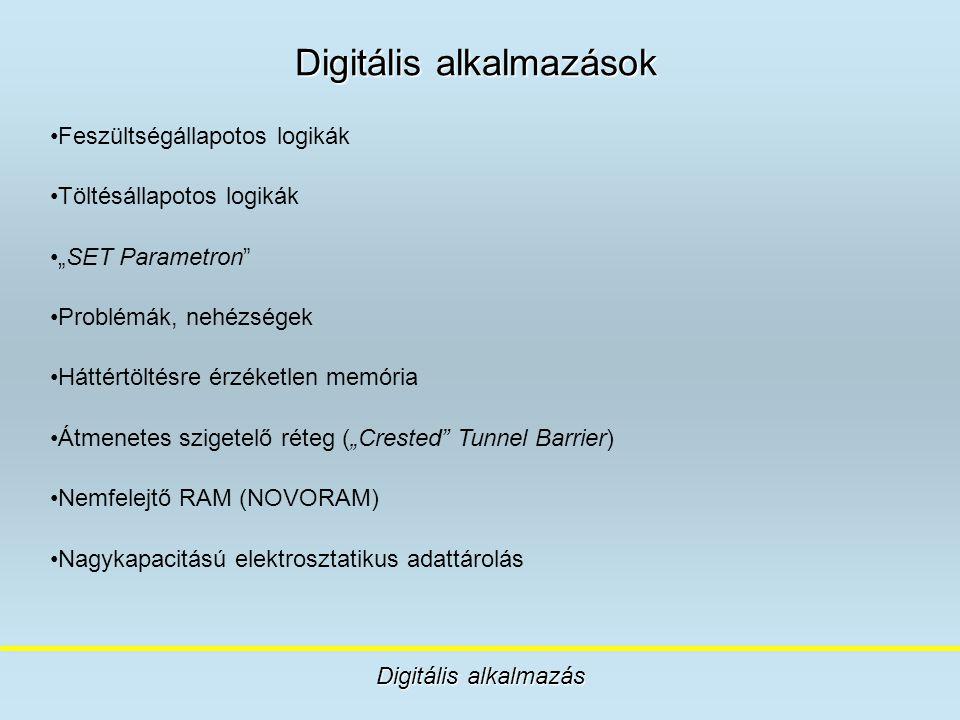 """Digitális alkalmazások Digitális alkalmazás Feszültségállapotos logikák Töltésállapotos logikák """"SET Parametron"""" Problémák, nehézségek Háttértöltésre"""