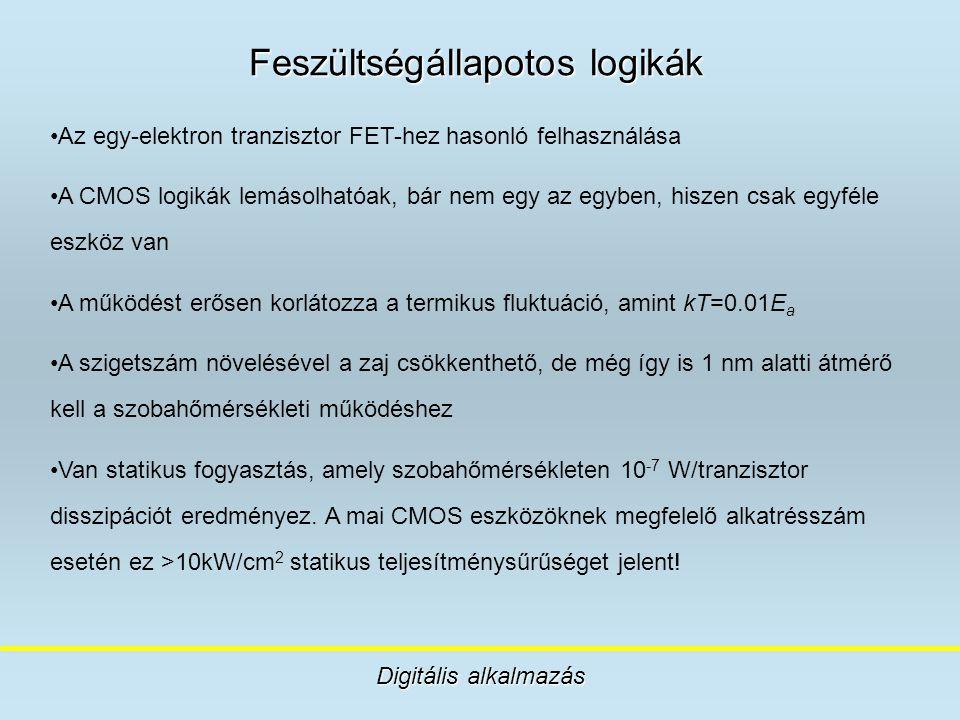 Feszültségállapotos logikák Digitális alkalmazás Az egy-elektron tranzisztor FET-hez hasonló felhasználása A CMOS logikák lemásolhatóak, bár nem egy a
