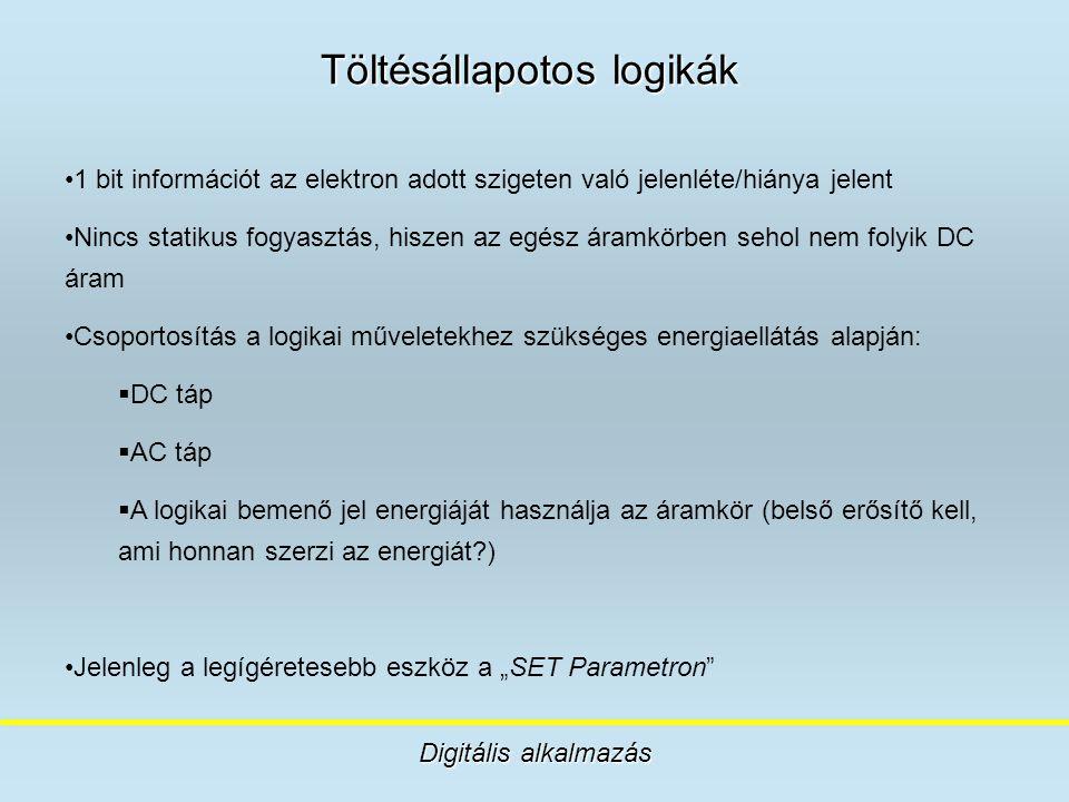 Töltésállapotos logikák Digitális alkalmazás 1 bit információt az elektron adott szigeten való jelenléte/hiánya jelent Nincs statikus fogyasztás, hisz