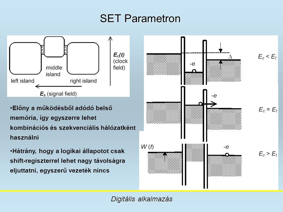 SET Parametron Digitális alkalmazás Előny a működésből adódó belső memória, így egyszerre lehet kombinációs és szekvenciális hálózatként használni Hát