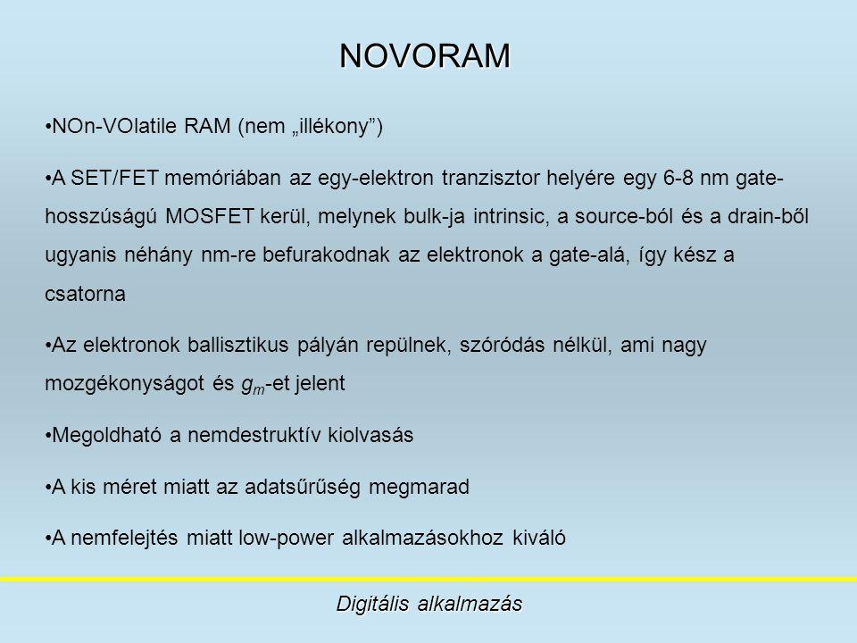 """NOVORAM Digitális alkalmazás NOn-VOlatile RAM (nem """"illékony"""") A SET/FET memóriában az egy-elektron tranzisztor helyére egy 6-8 nm gate- hosszúságú MO"""