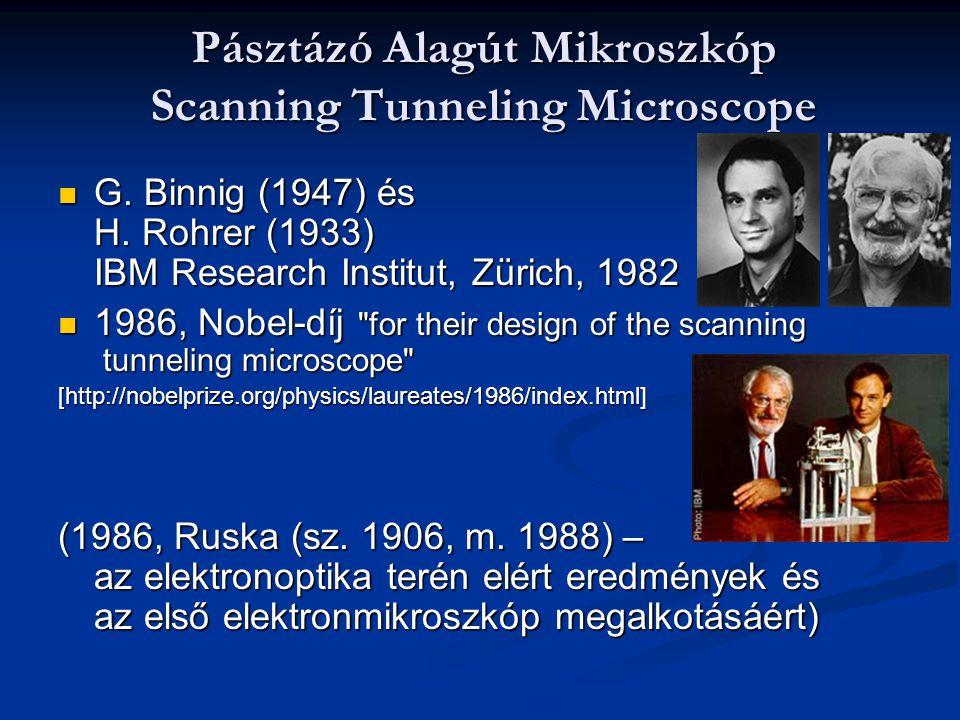 Pásztázó Alagút Mikroszkóp Scanning Tunneling Microscope G. Binnig (1947) és H. Rohrer (1933) IBM Research Institut, Zürich, 1982 G. Binnig (1947) és