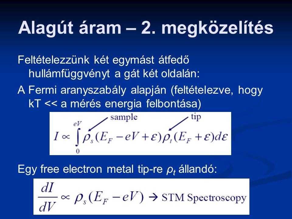 Alagút áram – 2. megközelítés Feltételezzünk két egymást átfedő hullámfüggvényt a gát két oldalán: A Fermi aranyszabály alapján (feltételezve, hogy kT