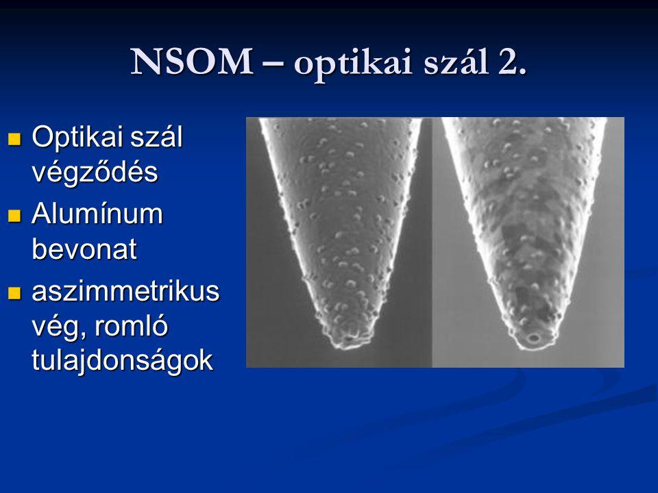 NSOM – optikai szál 2. Optikai szál végződés Optikai szál végződés Alumínum bevonat Alumínum bevonat aszimmetrikus vég, romló tulajdonságok aszimmetri