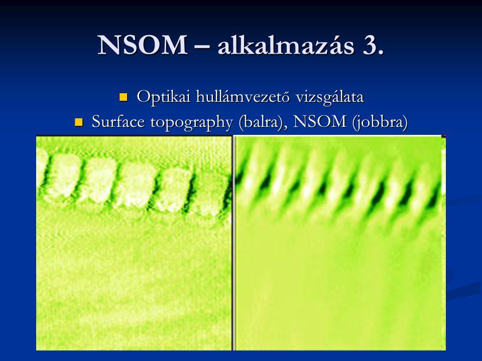 NSOM – alkalmazás 3. Optikai hullámvezet ő vizsgálata Optikai hullámvezet ő vizsgálata Surface topography (balra), NSOM (jobbra) Surface topography (b