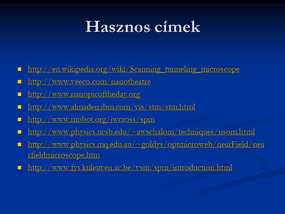 Hasznos címek http://en.wikipedia.org/wiki/Scanning_tunneling_microscope http://en.wikipedia.org/wiki/Scanning_tunneling_microscope http://en.wikipedi