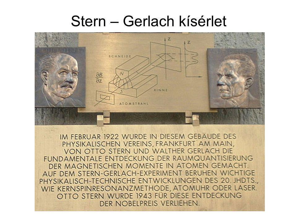 A Stern-Gerlach kísérlet Ha nem lenne mágneses momentumuk (és ennek megfelelően spinjük) az ezüstatomoknak, akkor egy kupacba kellett volna beérkezniük, de ha van, klasszikus értelmezésben akkor is szétkent, folytonos eloszlás mentén, nem két elkülönülő pontban.