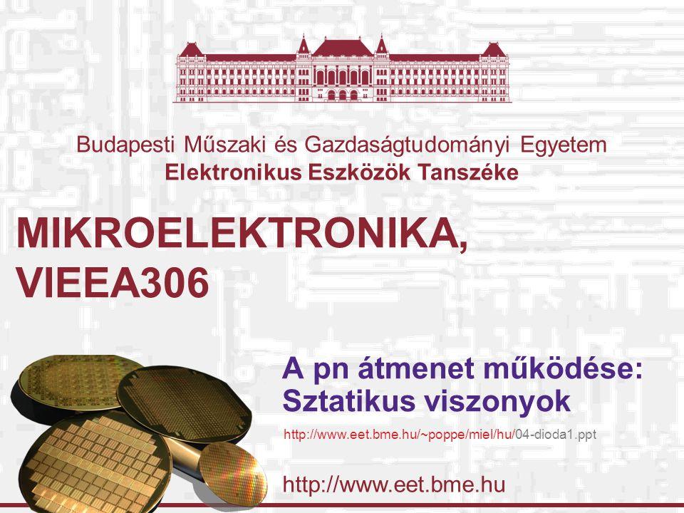 http://www.eet.bme.hu Budapesti Műszaki és Gazdaságtudományi Egyetem Elektronikus Eszközök Tanszéke MIKROELEKTRONIKA, VIEEA306 A pn átmenet működése:
