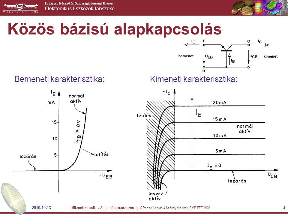 Budapesti Műszaki és Gazdaságtudomanyi Egyetem Elektronikus Eszközök Tanszéke 2010-10-13 Mikroelektronika - A bipoláris tranzisztor III. © Poppe Andrá
