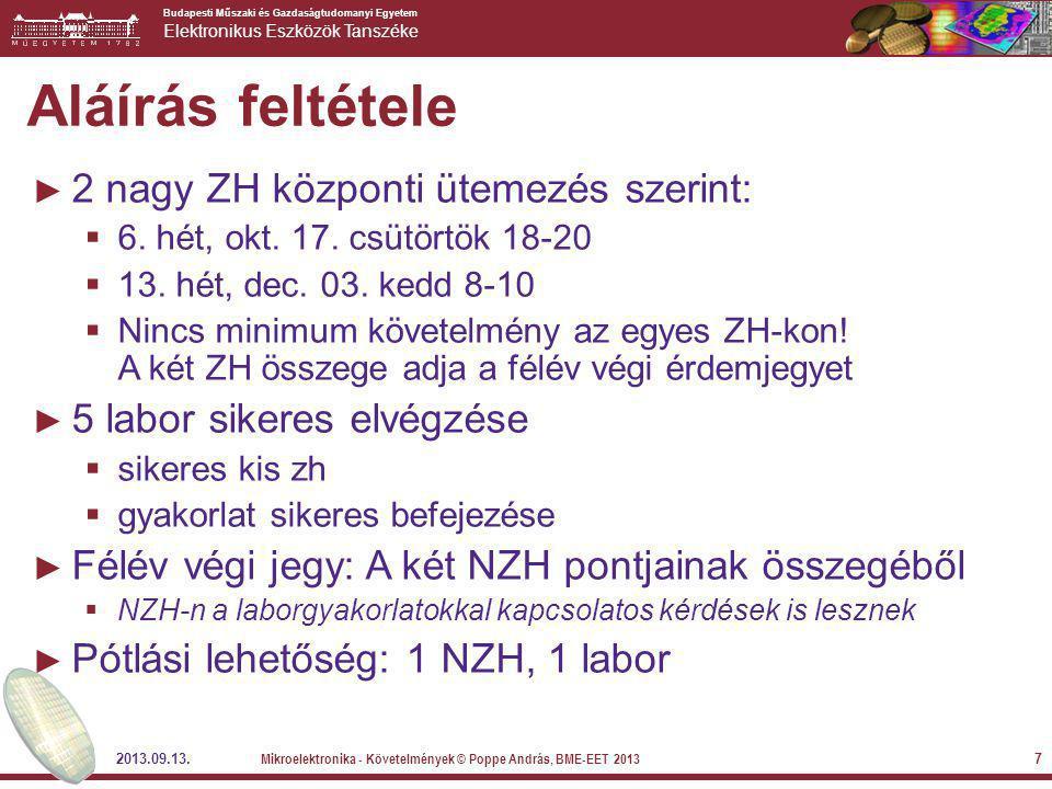 Budapesti Műszaki és Gazdaságtudomanyi Egyetem Elektronikus Eszközök Tanszéke 2013.09.13. Mikroelektronika - Követelmények © Poppe András, BME-EET 201