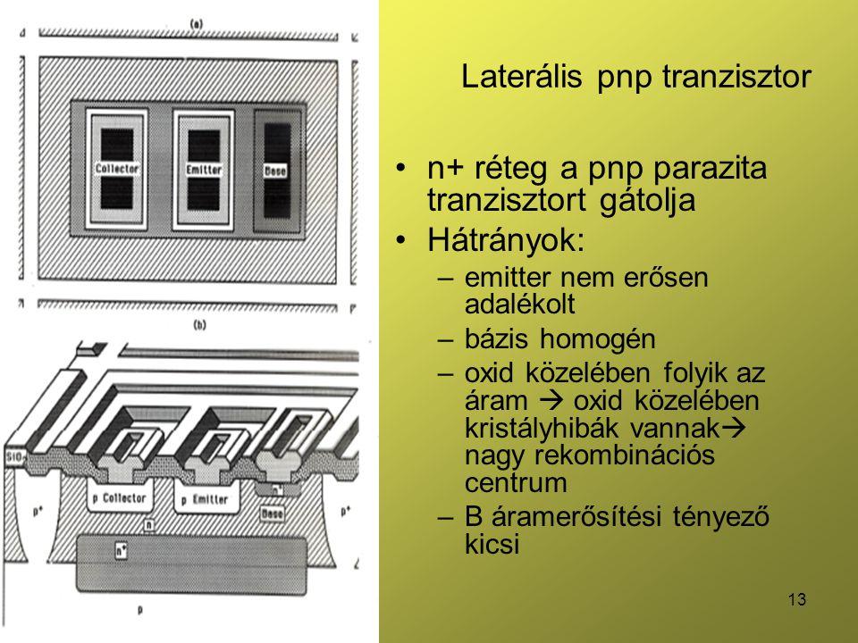 13 Laterális pnp tranzisztor n+ réteg a pnp parazita tranzisztort gátolja Hátrányok: –emitter nem erősen adalékolt –bázis homogén –oxid közelében folyik az áram  oxid közelében kristályhibák vannak  nagy rekombinációs centrum –B áramerősítési tényező kicsi