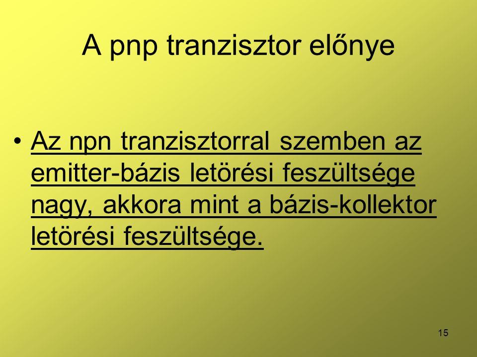 15 A pnp tranzisztor előnye Az npn tranzisztorral szemben az emitter-bázis letörési feszültsége nagy, akkora mint a bázis-kollektor letörési feszültsége.