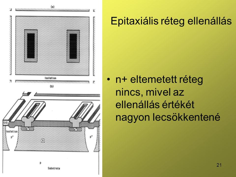 21 Epitaxiális réteg ellenállás n+ eltemetett réteg nincs, mivel az ellenállás értékét nagyon lecsökkentené