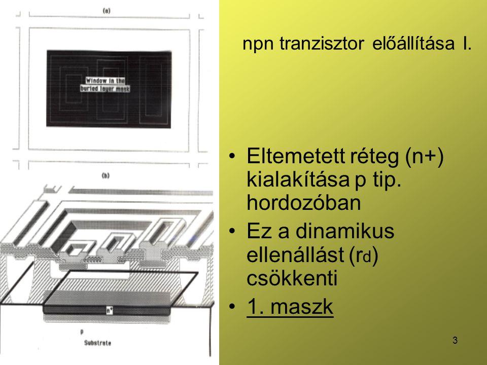 14 Javítások az pnp laterális tranzisztor hibáira Emitter - kollektor közötti hasznos felület növelése (áthaladó elektronok száma nő) B növelése: kompozit fokozat alkalmazása Bázis Emitter Kollektor