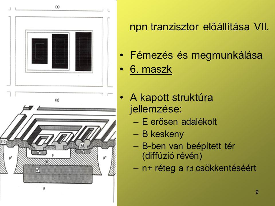 20 Emitter ellenállás Kis ellenállású Átvezetésként szokás használni Jó nagyteljesítményű tranzisztorok párhuzamos kötésénél nyitófeszültség eltolására R s ~1Ω