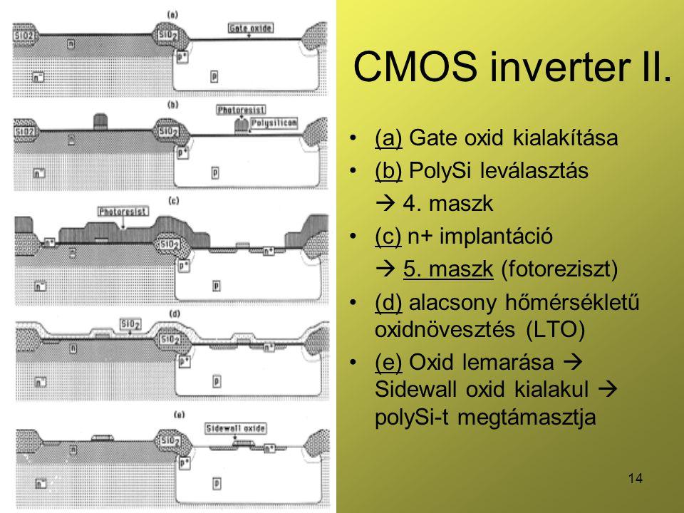 14 CMOS inverter II. (a) Gate oxid kialakítása (b) PolySi leválasztás  4. maszk (c) n+ implantáció  5. maszk (fotoreziszt) (d) alacsony hőmérsékletű