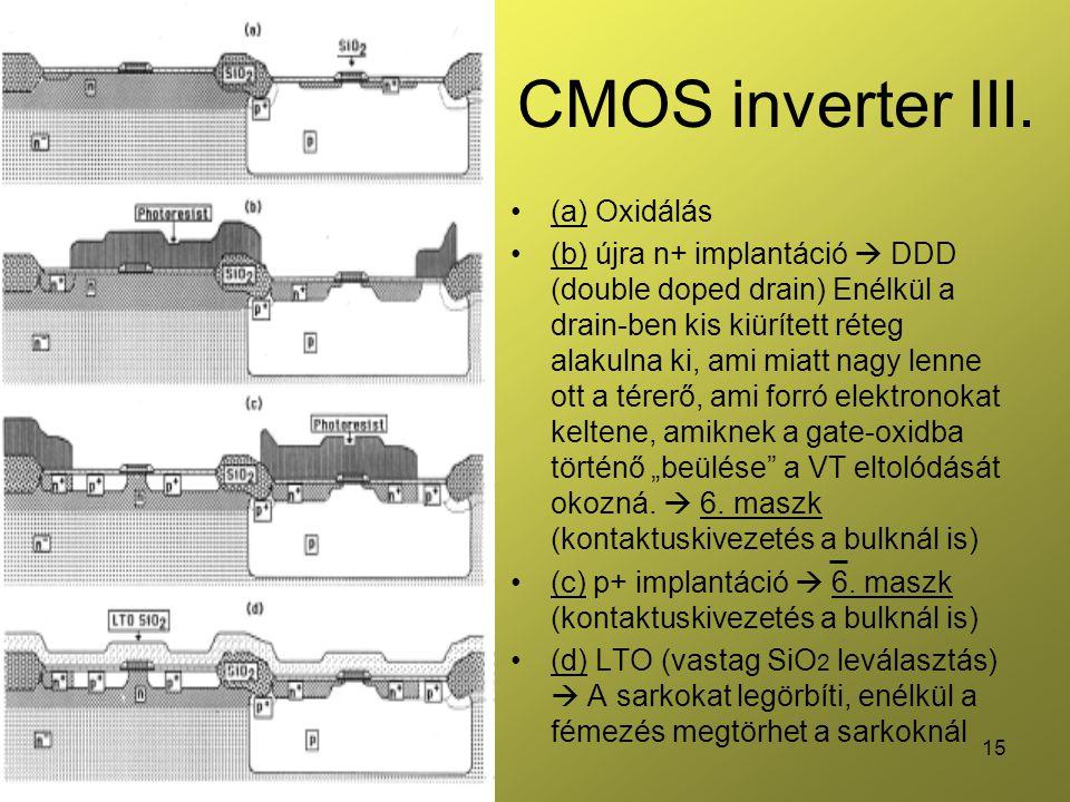 15 CMOS inverter III. (a) Oxidálás (b) újra n+ implantáció  DDD (double doped drain) Enélkül a drain-ben kis kiürített réteg alakulna ki, ami miatt n