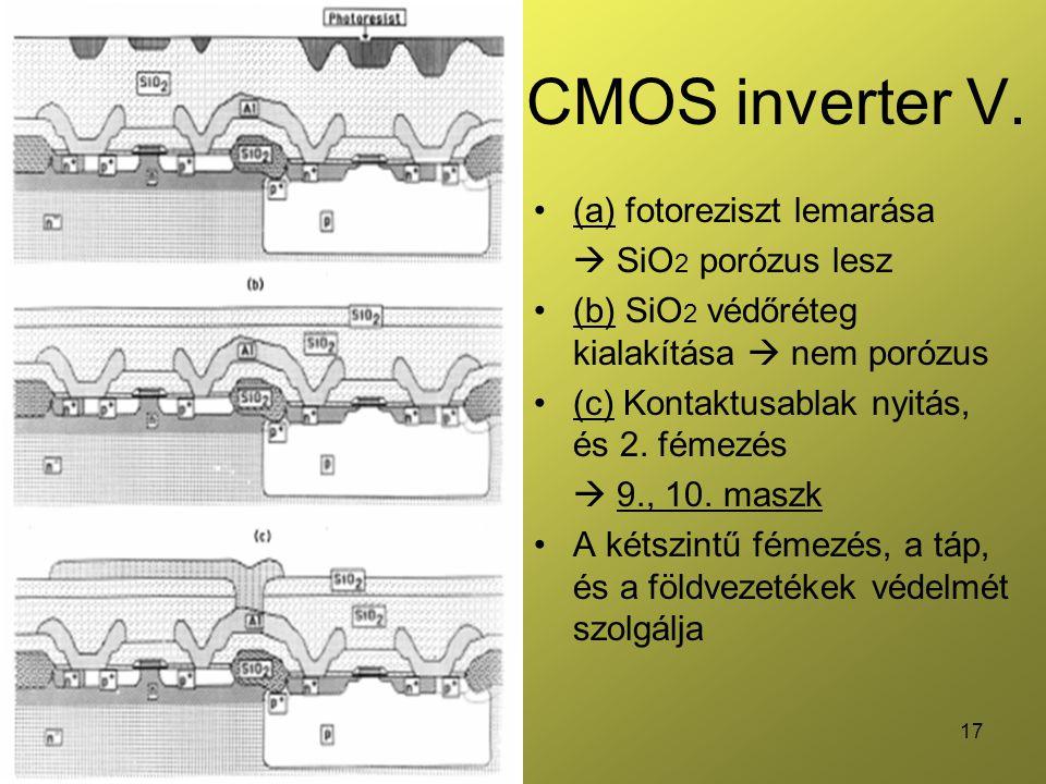 17 CMOS inverter V. (a) fotoreziszt lemarása  SiO 2 porózus lesz (b) SiO 2 védőréteg kialakítása  nem porózus (c) Kontaktusablak nyitás, és 2. fémez