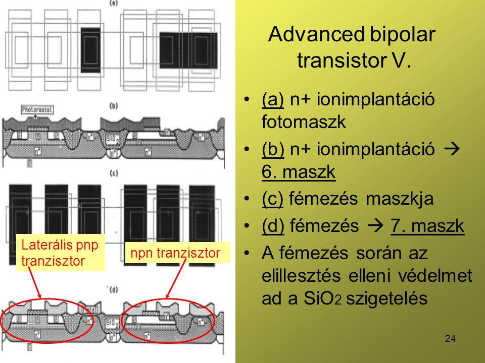 24 Advanced bipolar transistor V. (a) n+ ionimplantáció fotomaszk (b) n+ ionimplantáció  6. maszk (c) fémezés maszkja (d) fémezés  7. maszk A fémezé