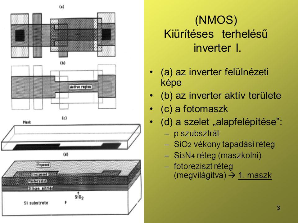 """3 (NMOS) Kiürítéses terhelésű inverter I. (a) az inverter felülnézeti képe (b) az inverter aktív területe (c) a fotomaszk (d) a szelet """"alapfelépítése"""