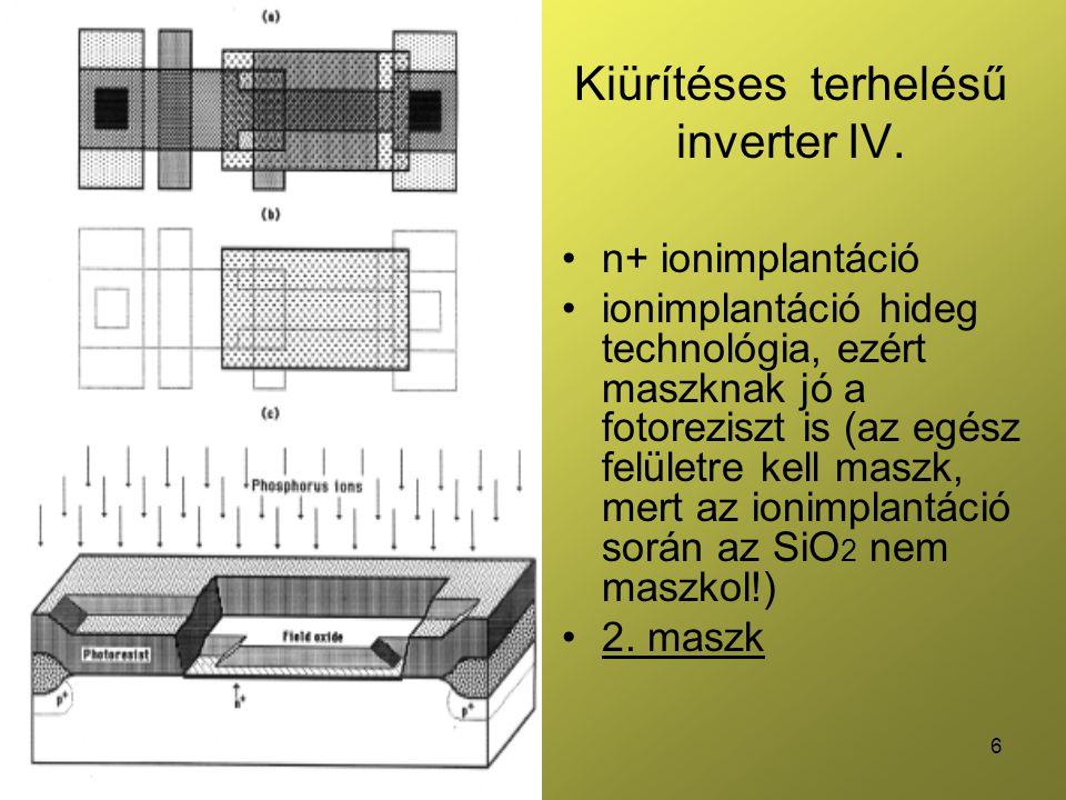 6 Kiürítéses terhelésű inverter IV. n+ ionimplantáció ionimplantáció hideg technológia, ezért maszknak jó a fotoreziszt is (az egész felületre kell ma