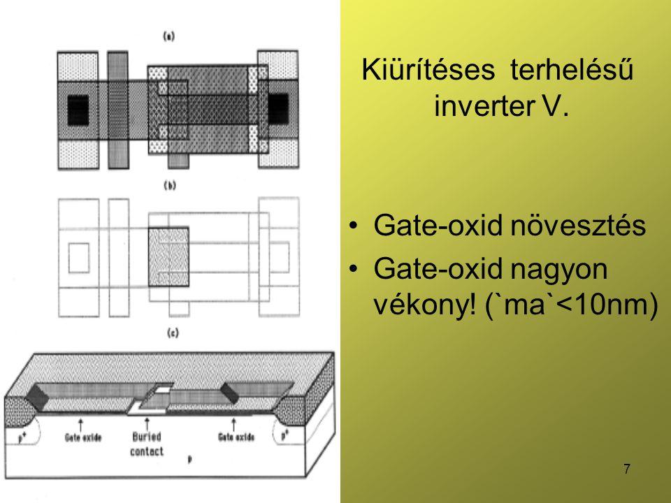 7 Kiürítéses terhelésű inverter V. Gate-oxid növesztés Gate-oxid nagyon vékony! (`ma`<10nm)