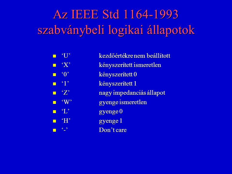 Az IEEE Std 1164-1993 szabványbeli logikai állapotok n 'U'kezdőértékre nem beállított n 'X'kényszerített ismeretlen n '0'kényszerített 0 n '1'kényszerített 1 n 'Z'nagy impedanciás állapot n 'W'gyenge ismeretlen n 'L'gyenge 0 n 'H'gyenge 1 n '-'Don't care