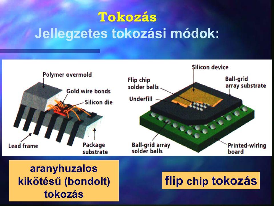 Tokozás Jellegzetes tokozási módok: flip chip tokozás aranyhuzalos kikötésű (bondolt) tokozás