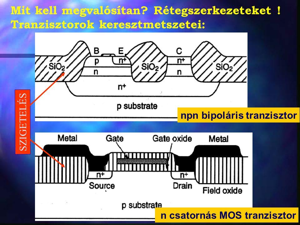 Mit kell megvalósítan? Rétegszerkezeteket ! Tranzisztorok keresztmetszetei: npn bipoláris tranzisztor n csatornás MOS tranzisztor SZIGETELÉS