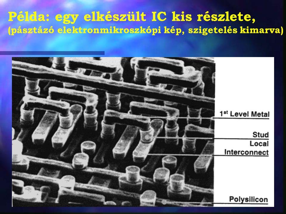 Példa: egy elkészült IC kis részlete, (pásztázó elektronmikroszkópi kép, szigetelés kimarva)