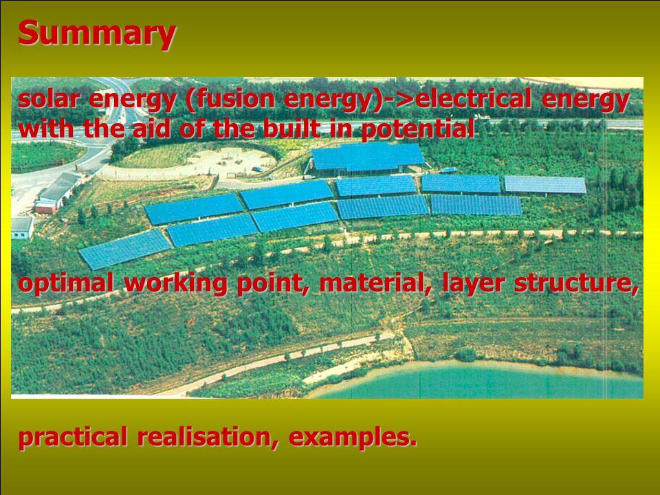 Comparison of some solar cells