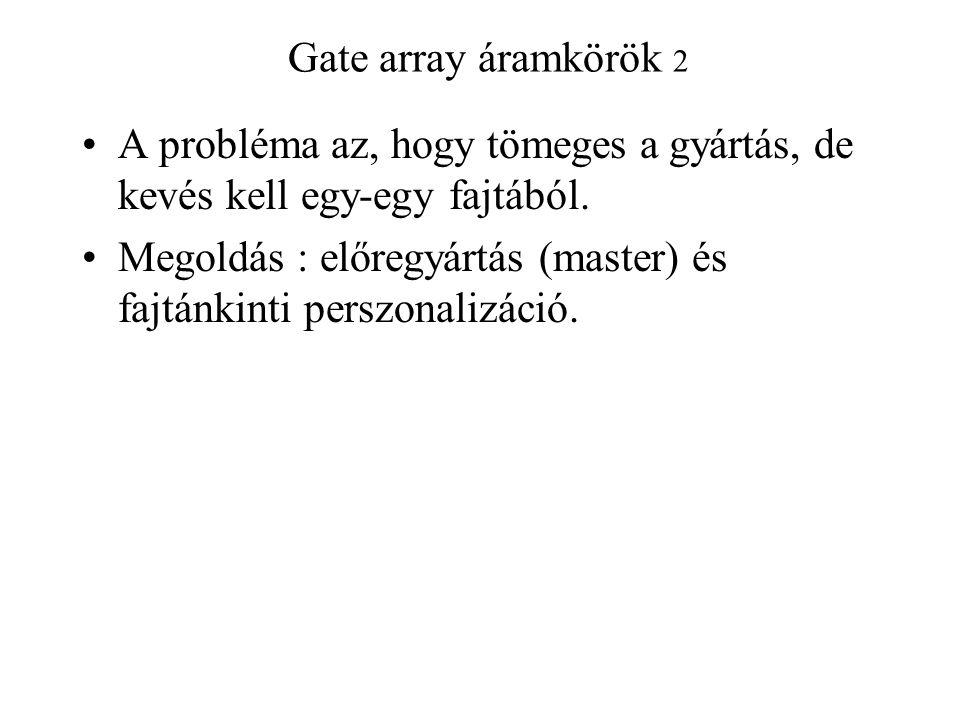 Gate array áramkörök 2 A probléma az, hogy tömeges a gyártás, de kevés kell egy-egy fajtából. Megoldás : előregyártás (master) és fajtánkinti perszona