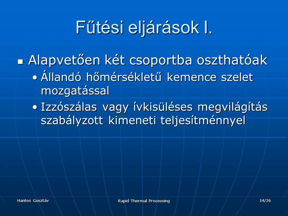 Hantos Gusztáv Rapid Thermal Processing 14/26 Fűtési eljárások I.